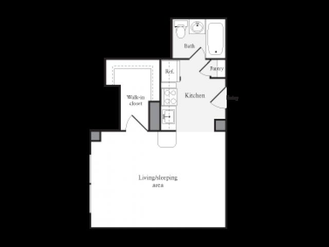 423 square foot studio one bath floor plan image