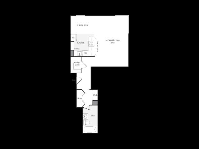 504 square foot studio one bath floor plan image