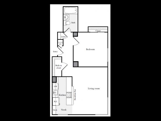 659 square foot one bedroom one bath apartment floorplan image