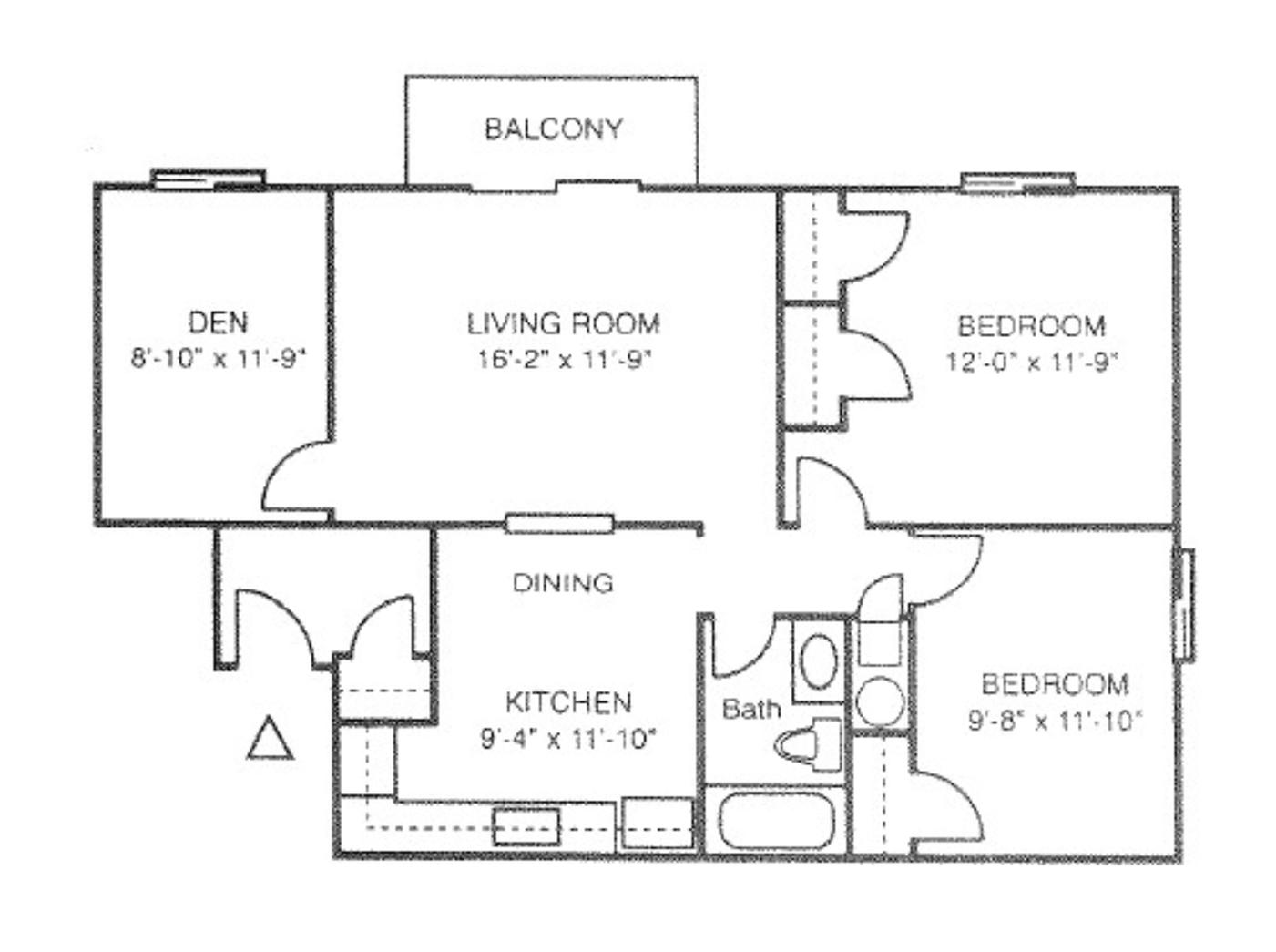 2 Bed 1 Bath w/ Den | Frontier Apartment