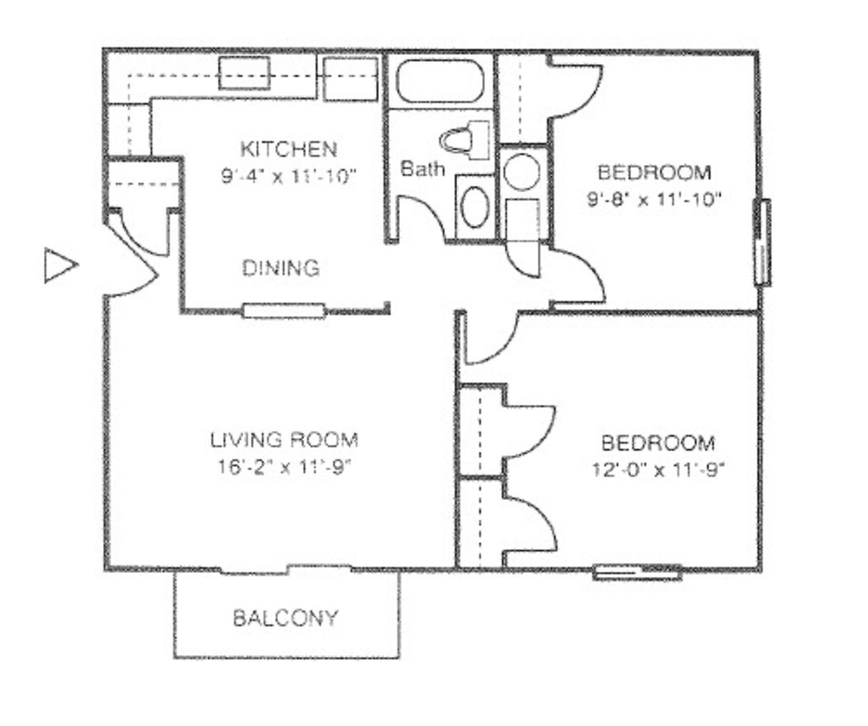 2 Bed 1 Bath | Frontier Apartment
