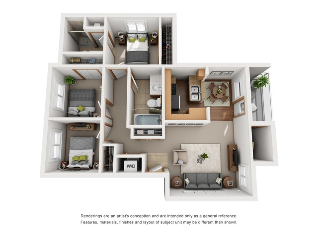 Upper Level 3 Bedroom Floorplan