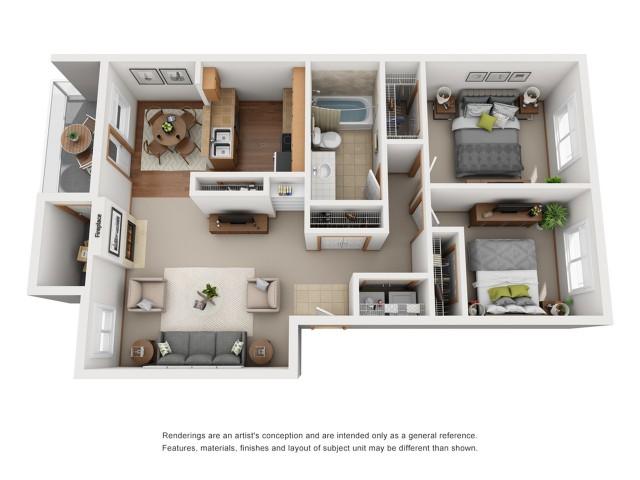 Upper Level 2 Bedroom Floorplan