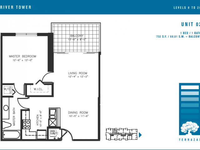 1 bedroom 2 bath plus den Terrazas Miami