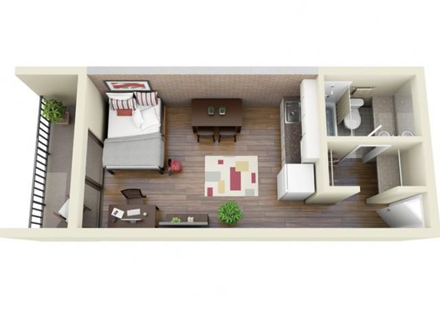 Balcony Main Kitchen 3D Floor Plan