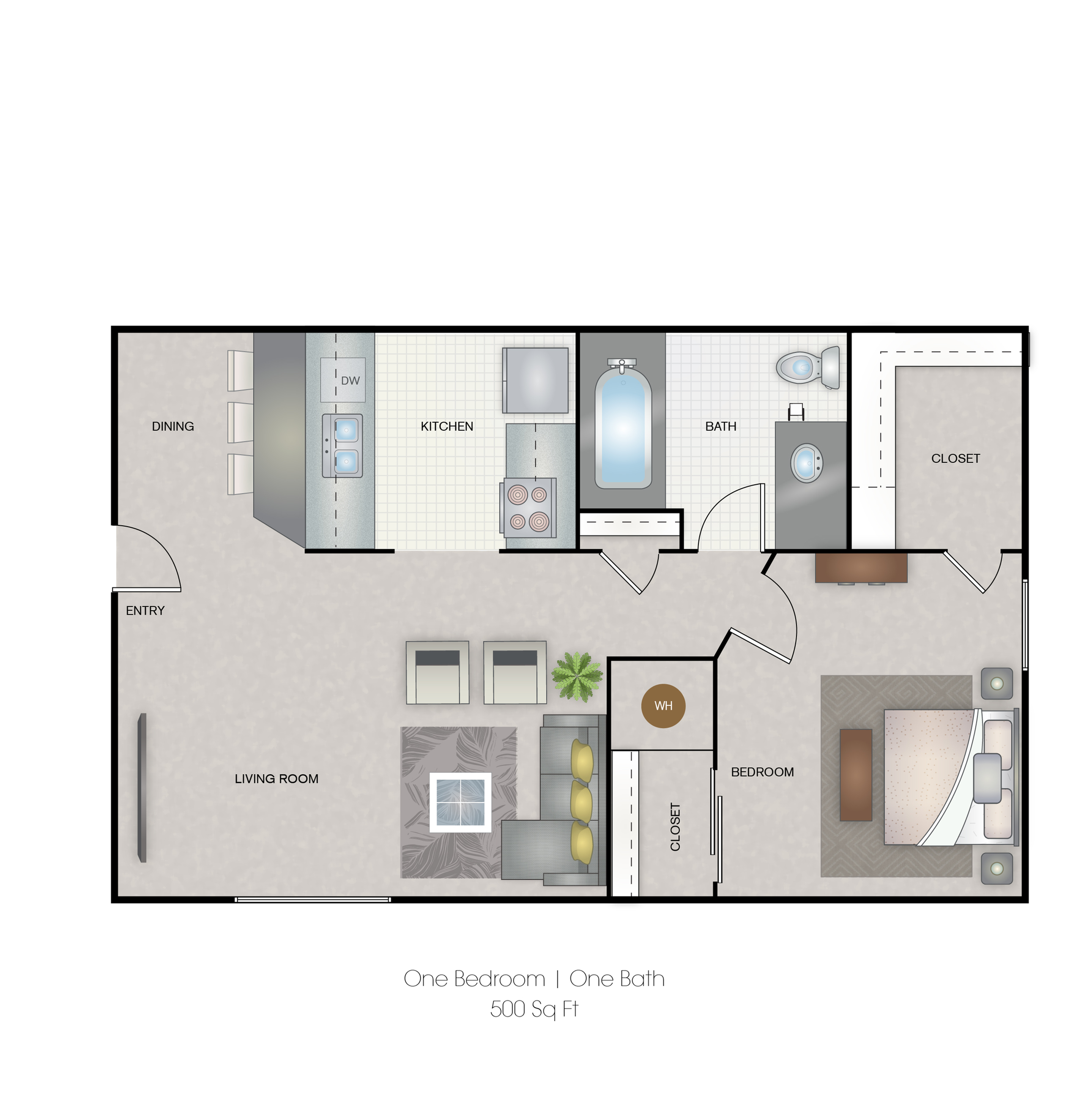 Small one bedroom 500 Sq-ft