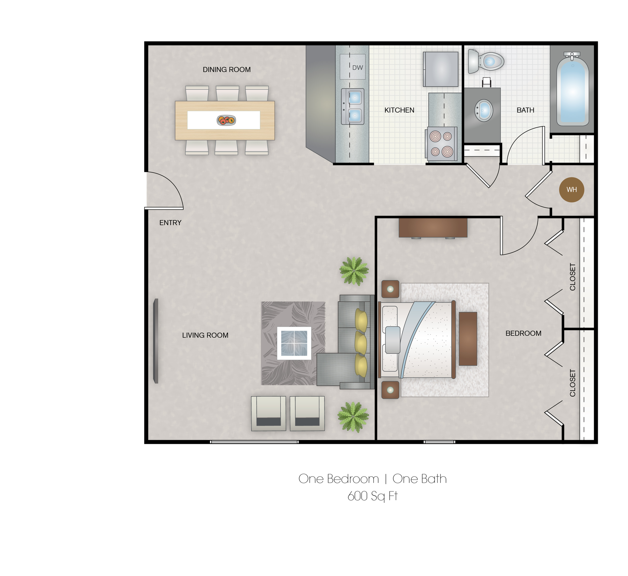 Large one bedroom 600 Sq-ft