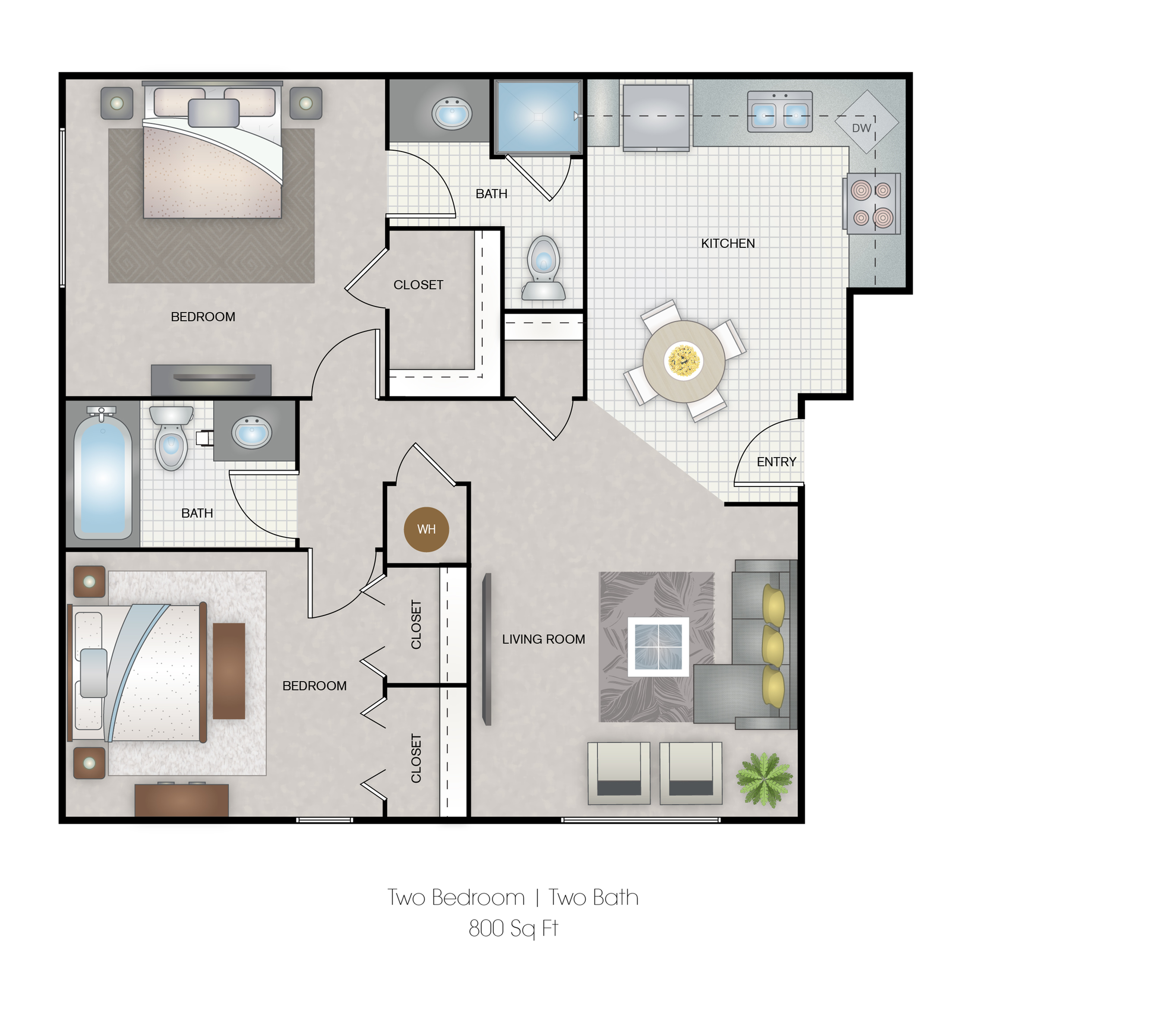 Two bedroom 800 Sq-ft