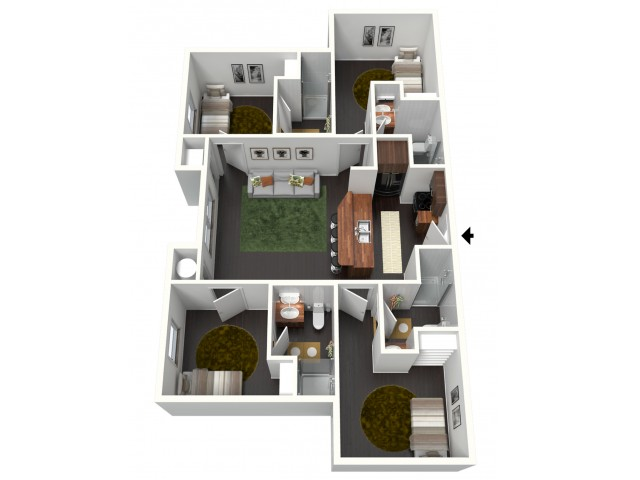 4 Bedroom 4 Bathroom Private Bedrooms (*Artist\'s Rendering)