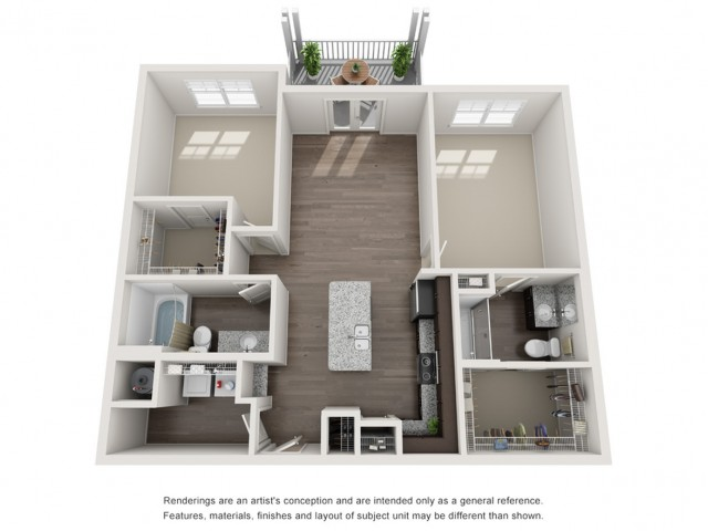 Two Bedroom / Two Bath - 1086 Sq Ft