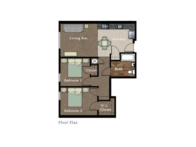 All|Floor Plans2 Bedroom 1 Bath Apartment