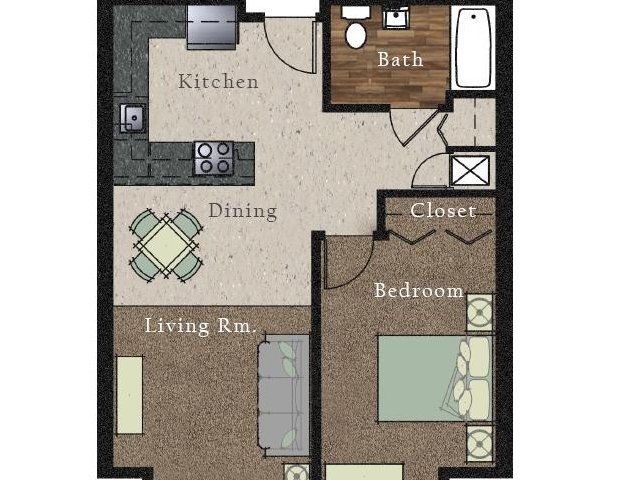 All|Floor Plans1 Bedroom 1 Bath Apartment