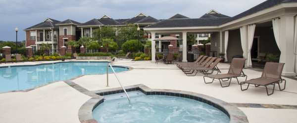 Pool Area Photo at Country Club Pointe Nice Lake Charles Apartments for Rent