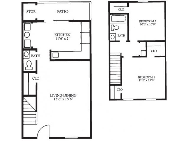 Two Bedroom Townhouse, 1.5 Baths