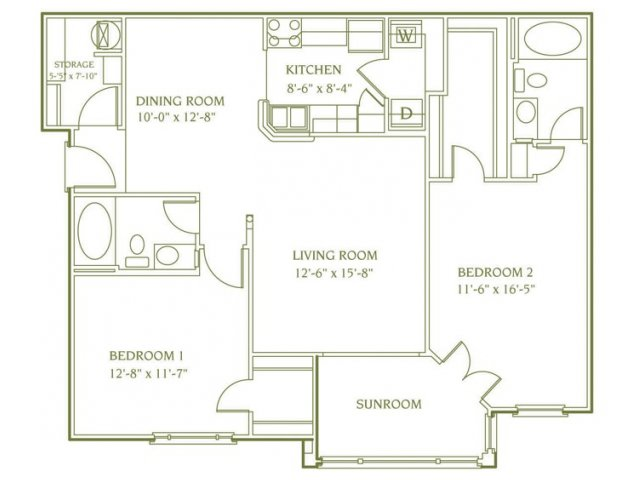 2 bedroom 2 bathroom floor plan of Chelsea Sun apartment with porch