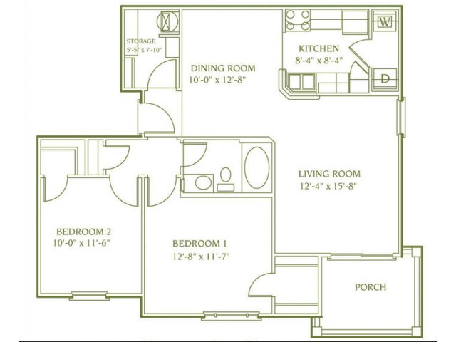 2 bedroom 1 bathroom floor plan of Banbury apartment with porch