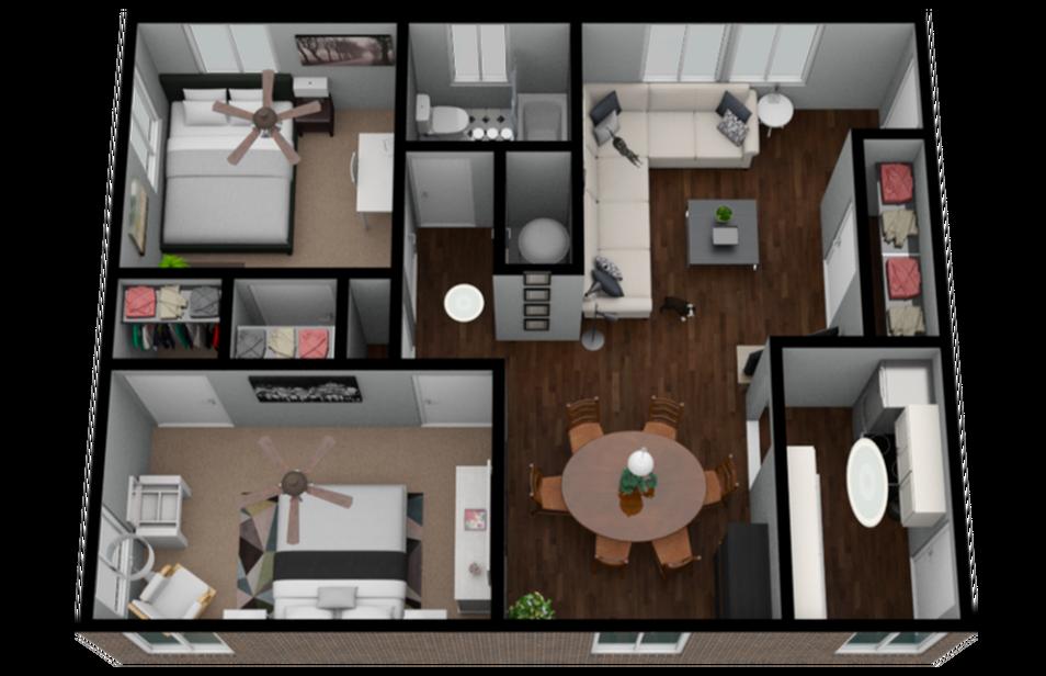 2 Bedroom 1 Bath 800 Sqft Apartment Home