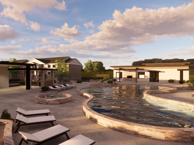 Alternaate view of modern swimming pool surrounded by lounge chairs and beautiful landscaping. Area has 2 visible hot tubs and access to the lounging/grilling station