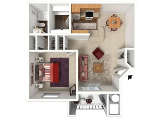 1 bedroom 1 bath Windsor floor plan