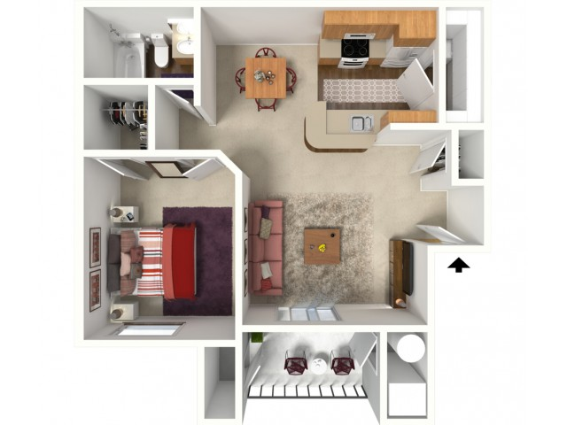 1 bedroom 1 bathroom Oxford floor plan