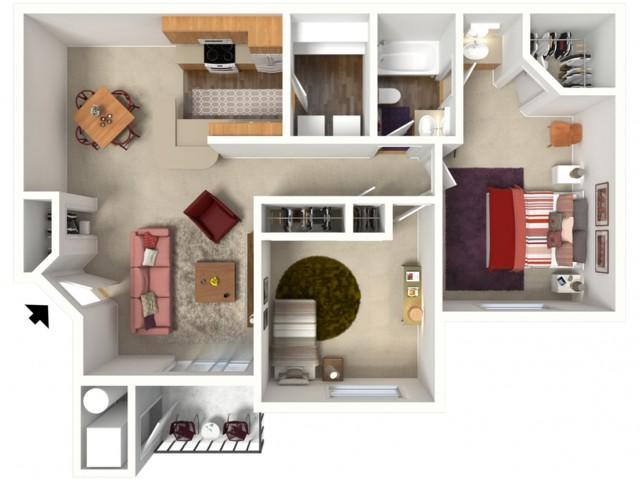 2 bedroom 2 bathroom York 1 floor plan