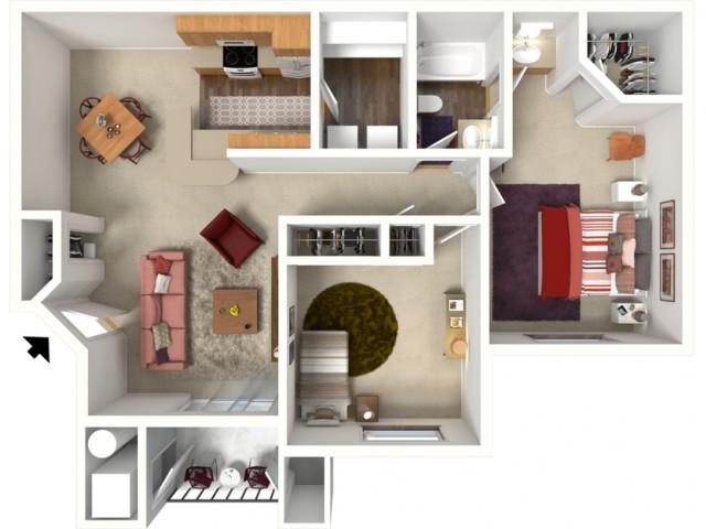 2 bedroom 1 bathroom York 2 floor plan