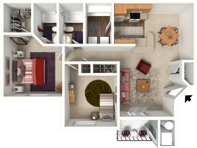 2 bedroom 2 bathroom Kensington 1 floor plan