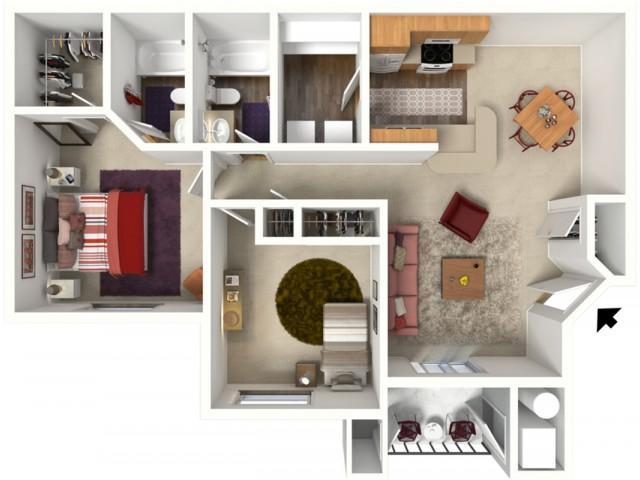 2 bedroom 2 bathroom Kensington 2 floor plan