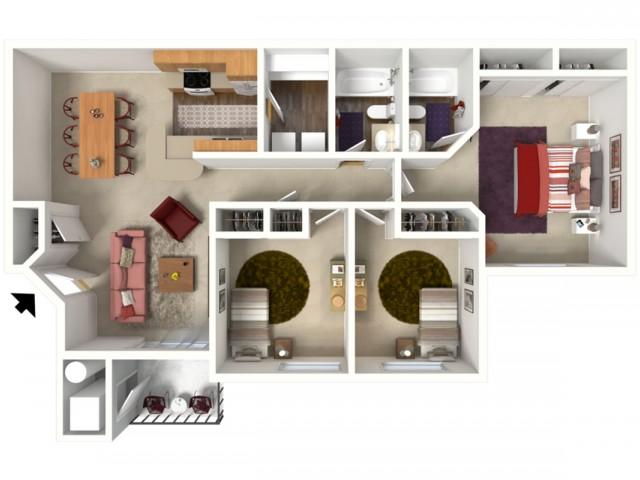 3 bedroom 2 bathroom Buckingham 1 floor plan