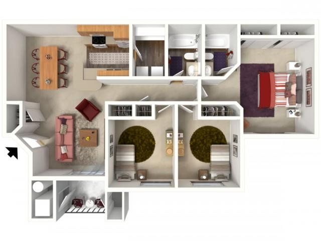 3 bedroom 2 bathroom Buckingham 2 floor plan
