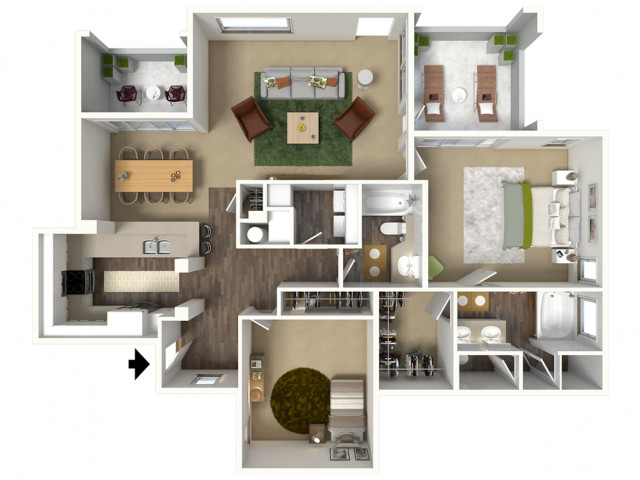 1 3 Bed Apartments – Floor Plans For A Two Bedroom House