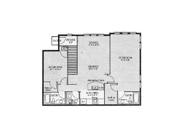 Apartments In Orlando FL | 2 Bedroom Floorplan
