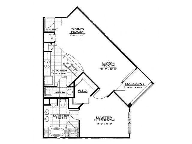 One Bedroom Floorplan | Aqua at Millenia 1