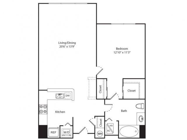 Floor Plan 2 | Apartment New Brunswick NJ | Plaza Square Apartment Homes