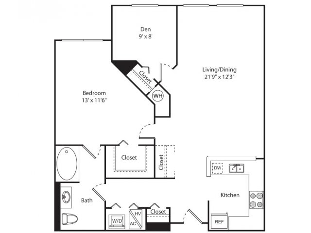 Floor Plan 5 | 1 Bedroom Apartments For Rent In New Brunswick NJ | Plaza Square Apartment Homes