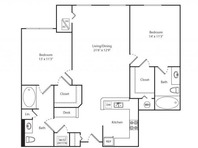 Floor Plan 10 | New Brunswick Apartment | Plaza Square Apartment Homes