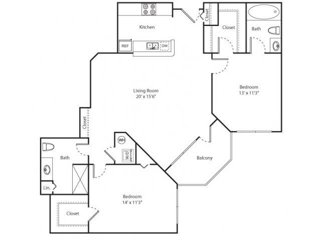 Floor Plan 13 | Apartments For Rent New Brunswick NJ | Plaza Square Apartment Homes