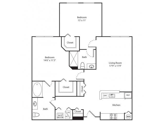 Floor Plan 6 | New Brunswick Luxury Apartments | Plaza Square Apartment Homes