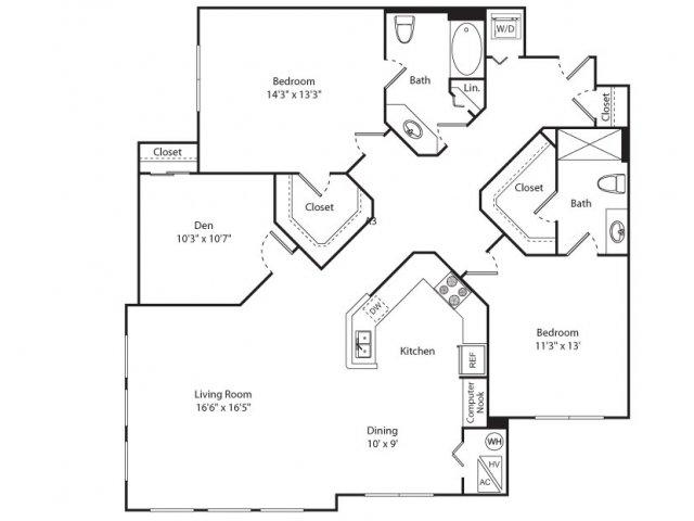 Floor Plan 9 | Apartments New Brunswick NJ | Plaza Square Apartment Homes