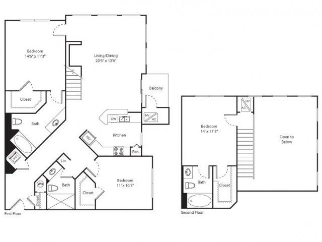 Floor Plan 14 | Luxury Apartments New Brunswick NJ | Plaza Square Apartment Homes