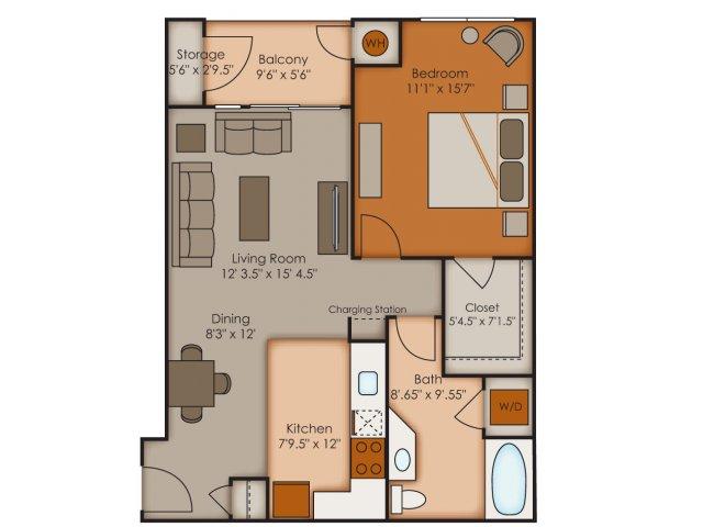 One Bedroom Floor Plans   Apartments In Colorado Springs   Vistas at Jackson Creek