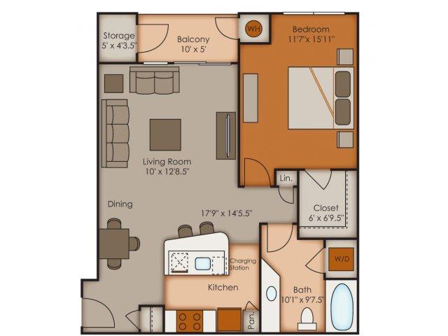 One Bedroom Floor Plans 1   Apartments In Colorado Springs   Vistas at Jackson Creek