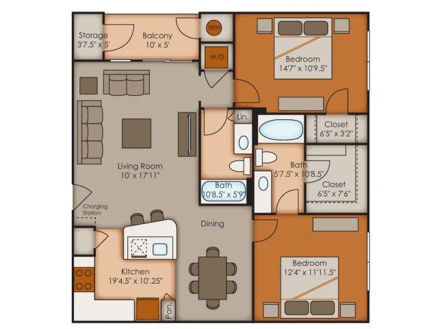 Two Bedroom Floor Plans   Apartments In Colorado Springs   Vistas at Jackson Creek