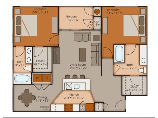 Two Bedroom Floor Plans 1   Apartments In Colorado Springs   Vistas at Jackson Creek