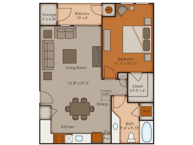 One Bedroom Floor Plans 2   Apartments In Colorado Springs   Vistas at Jackson Creek