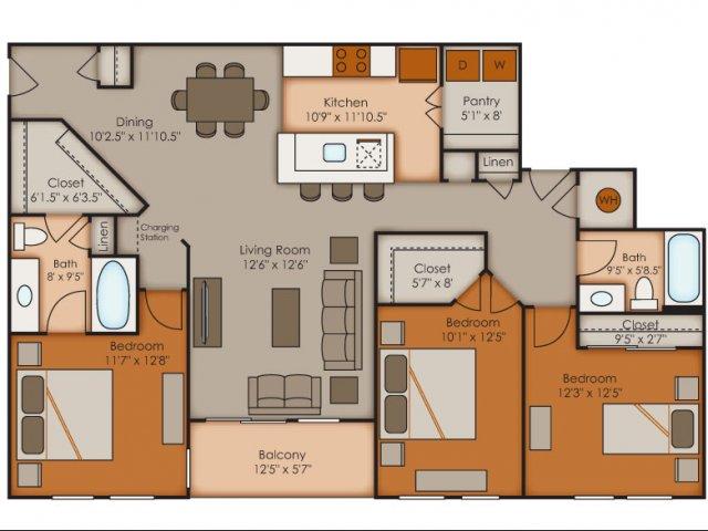 Three Bedroom Floor Plans   Apartments In Colorado Springs   Vistas at Jackson Creek