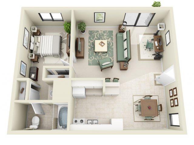 1 Bedroom Floor Plan | La Vista 1