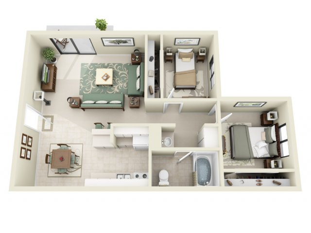 2 Bedroom Floor Plan | La Vista 1