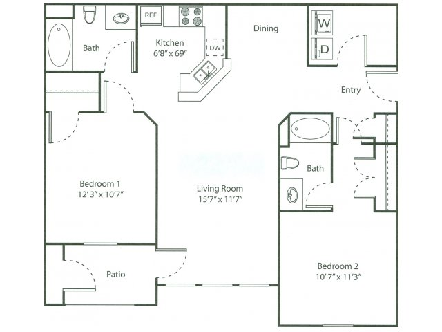 Two Bedroom Floorplan | The Bluffs