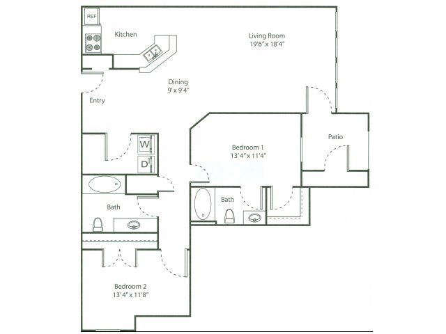Two Bedroom Floorplan | The Bluffs 2